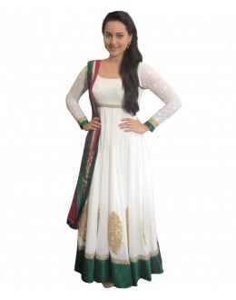 Designer Semi-Stiched White Georgette  Salwar Suit -  70583