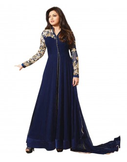 Designer Semi-Stiched Blue Georgette  Salwar Suit -  70585