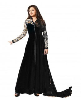 Designer Semi-Stiched Black Georgette  Salwar Suit -  70587