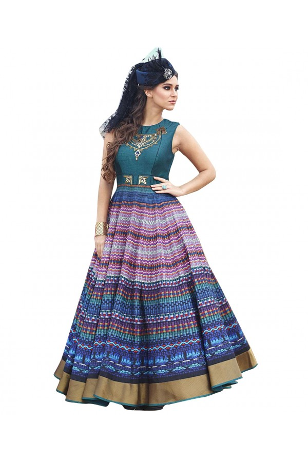 Eid Special Party Wear Multicolor Bhagalpuri Gown - 70593