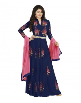Designer Semi-Stiched Blue Georgette Salwar Suit -  70598