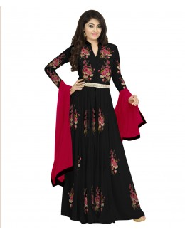 Designer Semi-Stiched Black Georgette Salwar Suit -  70599