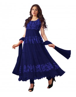 Designer Semi-Stiched Navy Blue Salwar Suit -  70600