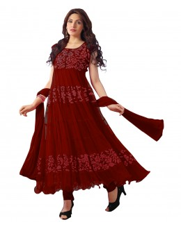 Designer Semi-Stiched Maroon Net Salwar Suit -  70601