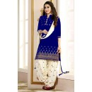 Ethnic Wear Blue & White Art Silk Patiyala Suit  - 70428P