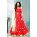 Ethnic Wear Red & Cream Bhagalpuri Anarkali Suit  - 70753A