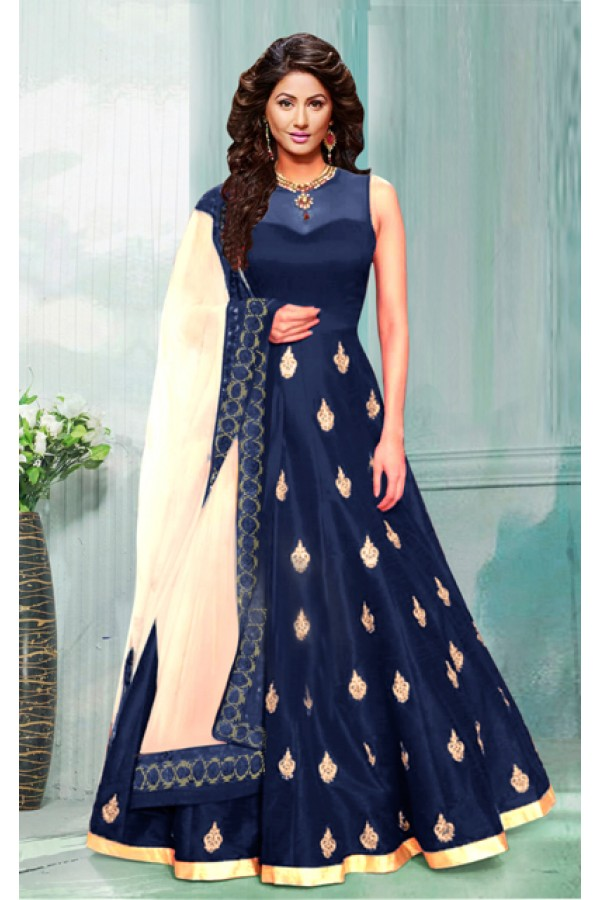 Festival Wear Navy Blue & Cream Anarkali Suit  - 70753E