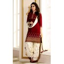 Casual Wear Maroon & White Patiyala Suit  - EBSFSK291001P