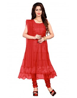 Red Colour Net Anarkali Suit - EBSFSK09101DD