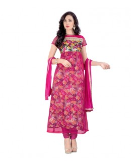Ethnic Wear Pink Net Anarkali Suit - 70536