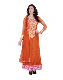 Festival Wear Orange Net Anarkali Suit - 70747