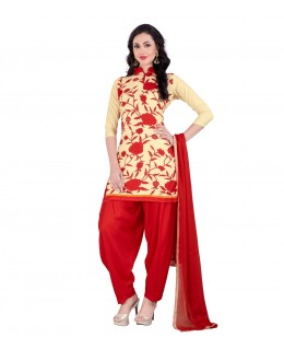 Festival Wear Cream & Red American Crepe Salwar Suit- 70756