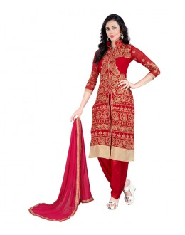 Party Wear Red Georgette Slit Salwar Suit - EBSFSK09107D