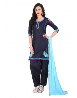 Office Wear Blue Cotton Patiyala Suit - EBSFSK223030