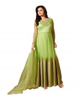 Party Wear Green Net Anarkali Suit -  70604