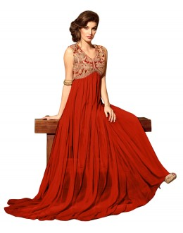 Eid Special Red Net Anarkali Suit -  70609