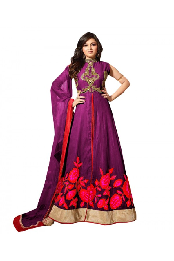 Eid Special Purple Bhagalpuri Anarkali Suit -  70614