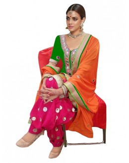 Bollywood Replica - Designer Green & Pink Patiyala Suit - 70690