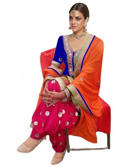 Bollywood Replica - Traditional Blue & Pink Patiyala Suit - 70691