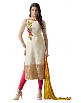 Party Wear Off White & Pink Salwar Suit - 70702