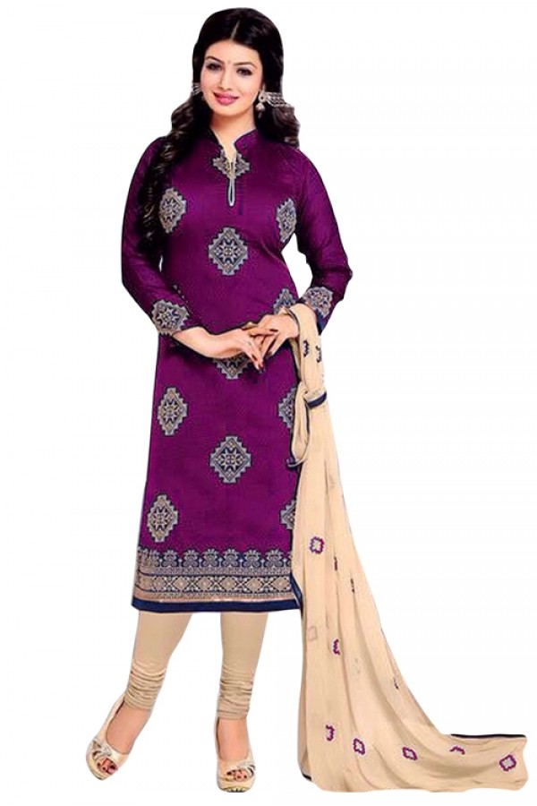 Office Wear Purple & Cream Chanderi Silk Salwar Suit - 70704