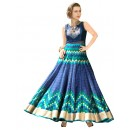 Party Wear Blue Pure Bhagalpuri Anarkali Suit - 70717