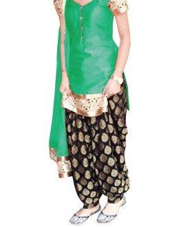 Ethnic Wear Green & Black Cotton Patiyala Suit - 70722-C