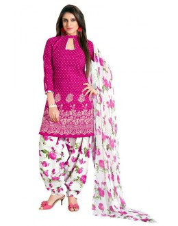 Ethnic Wear Pink & White Art Silk Patiyala Suit - 70737