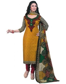 Ethnic Wear Yellow & Red Art Silk Salwar Suit - 70746