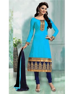 Ethnic Wear Sky Blue & Blue Art Silk Salwar Suit - 70749A