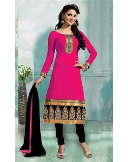 Ethnic Wear Pink & Black Art Silk Salwar Suit - 70749-B
