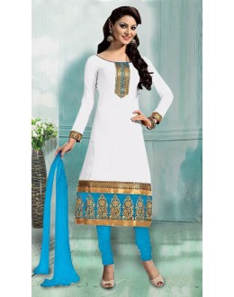 Ethnic Wear White & Sky Blue Art Silk Salwar Suit - 70749-C