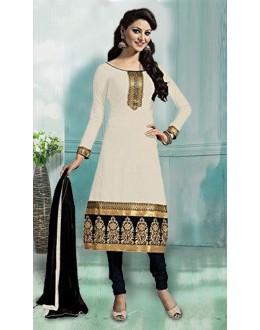 Ethnic Wear Cream & Black Art Silk Salwar Suit - 70749-D