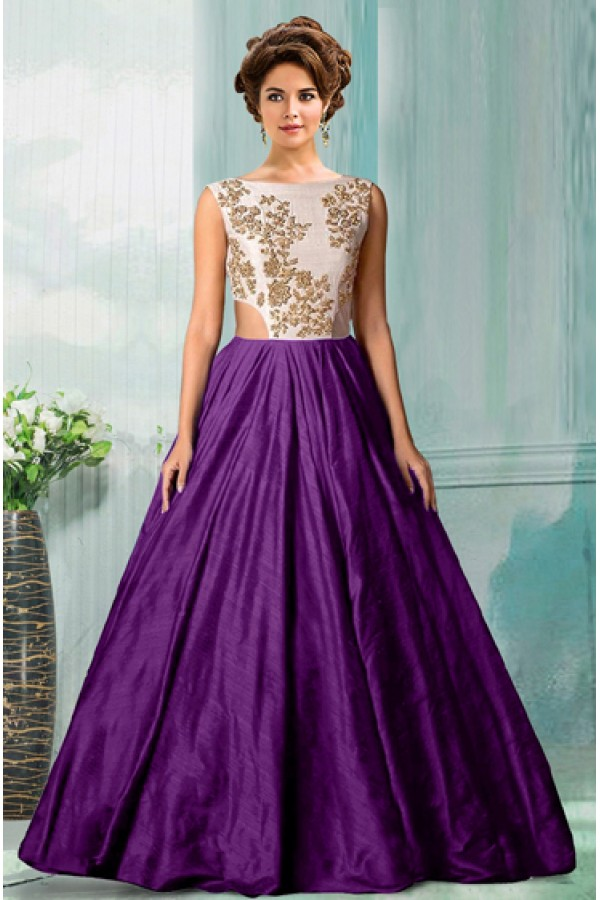 Bollywood Replica - Party Wear Purple Tat Silk Gown - 70750E