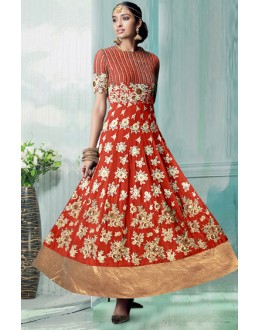 Party Wear Orange Georgette Embroidered Anarkali Suit - 70751B