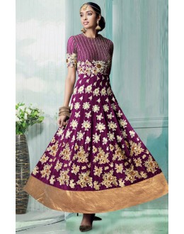 Designer Purple Georgette Embroidered Anarkali Suit - 70751C