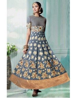 Party Wear Grey Georgette Embroidered Anarkali Suit - 70751E