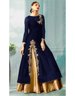 Party Wear Blue & Beige Tat Silk Anarkali Suit - 70752B