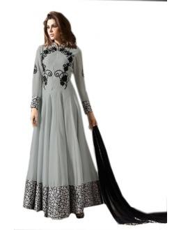 Festival  Wear Grey & Black Georgette Anarkali Suit  - 70952
