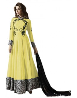 Ethnic Wear Yellow & Black Georgette Anarkali Suit  - 70953