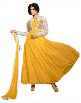 Party Wear White & Yellow Georgette Anarkali Suit  - 70955