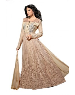 Festival Wear Beige Georgette Anarkali Suit  - 70956