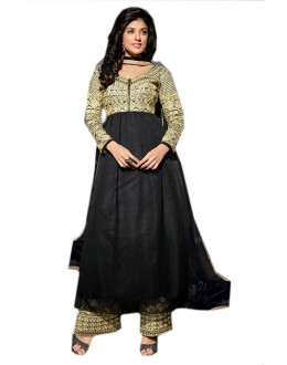 Ethnic Wear Black & Golden Georgette Palazzo Suit  - 70957