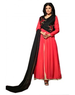 Festival Wear Pink & Black Georgette Anarkali Suit  - 70958
