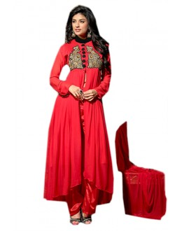 Party Wear Red Georgette Slit Salwar Suit  - 70960