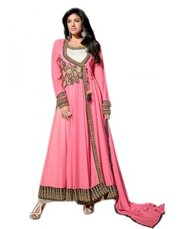 Ethnic Wear Pink Georgette Anarkali Suit  - 70969