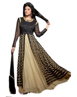 Party Wear Black & Beige Georgette Anarkali Suit  - 70971