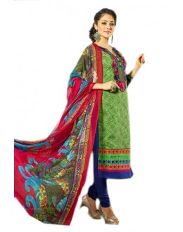 Festival Wear Green & Blue Chanderi Salwar Suit  - 70980