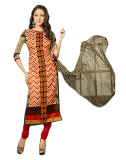 Office Wear Multicolour & Red Chanderi Salwar Suit  - 70981