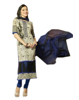Ethnic Wear Beige & Blue Chanderi Salwar Suit  - 70982